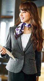 GJAL1655 GROW(グロウ) ニット素材の快適性とツイード風の華やかな印象のジャケット 82-GJAL1655