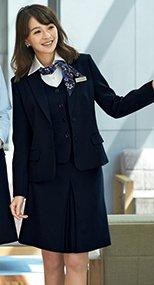 51414 en joie(アンジョア) スタイルよく見せる美しいシルエットのボックススカート 無地 93-51414