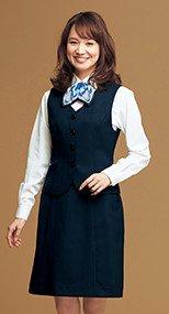 51763 en joie(アンジョア) きちんと感のあるドット柄ストライプのAラインスカート(53cm丈) 93-51763