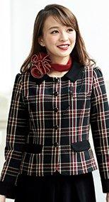 81790 en joie(アンジョア) 鮮やかチェック柄と個性的な襟が好感度のジャケット 93-81790