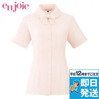 en joie(アンジョア) 06170 ふんわりオーラの丸襟に優しい印象のリボン付き半袖ブラウス(リボン付) 93-06170