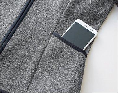 スマートフォンもすっぽり入る大容量ポケット