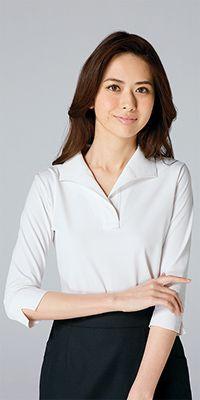 NF1025 アルファピア ニット素材でキレイな印象をキープする衿付き七分袖カットソー