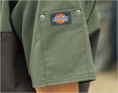 左袖 ディッキーズロゴ入りリベットポケット