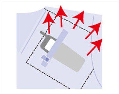 左胸 PHS.PDA 重量拡散ポケット 一点にかかっていた重みをポケット全体に分散することで、肩こりなどの疲労を軽減します。