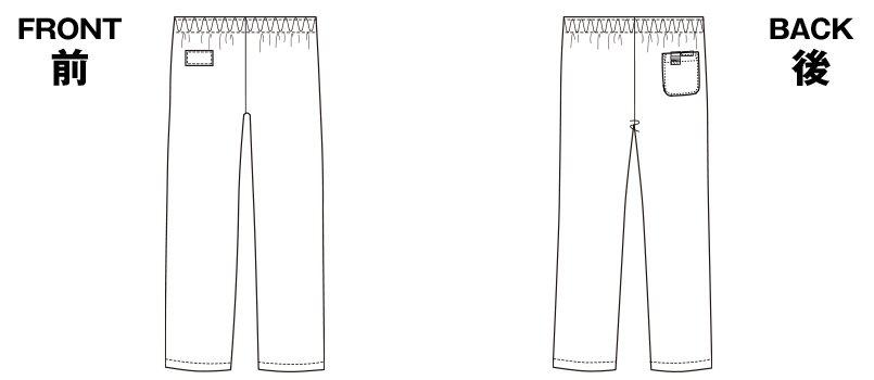 6003SC FOLK(フォーク) パントン ストレートパンツ(男女兼用)総ゴムのハンガーイラスト・線画