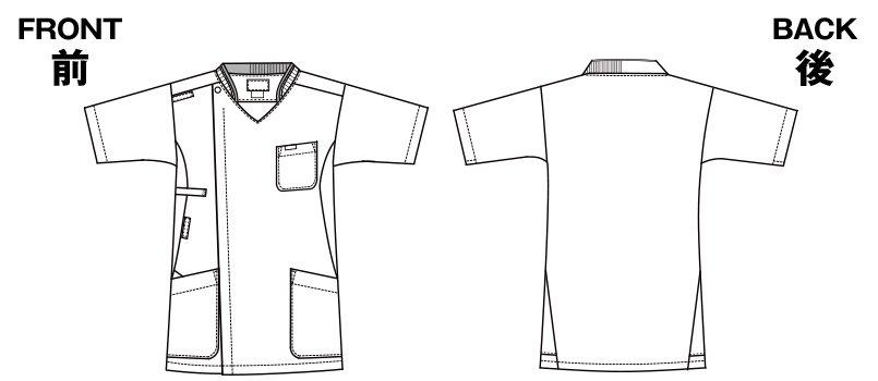 7044SC FOLK(フォーク) ZIP SCRUB メンズジップスクラブのハンガーイラスト・線画