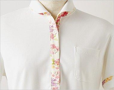 すっきりとした襟と前たての花柄が上品な印象
