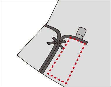 右ポケット内側には印鑑やリップクリームなどが収まるミニポケット付き