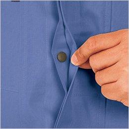ボタンを隠す比翼仕立ての前タテ