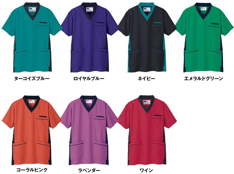 WH11685 自重堂WHISELスクラブ(男女兼用)衿と脇が配色 色展開