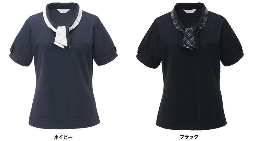 ESP404 enjoy [春夏用]愛らしさを品よく生み出す繊細なフレンチドットのオフィスポロシャツ 無地 色展開