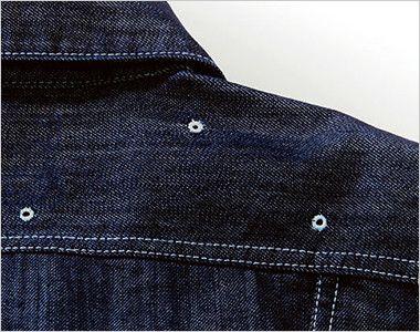 LWU39001 Lee ユニオンオール(長袖ツナギ)(男女兼用) 肩ヨークにある通気用の菊穴