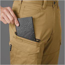 バートル 1702 [秋冬用]T/Cソフトツイルカーゴパンツ(男女兼用)  長財布・レベルブック収納ポケット(深さ23cm)