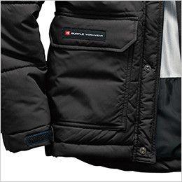 バートル 7510 リップクロス防寒ジャケット(大型フード付)(男女兼用) 二重のウォームアップポケット(ブランドネームは右ポケットのみ)