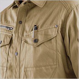 バートル 8105 綿100%ワーカーズツイル長袖シャツ(男女兼用) ペンさし
