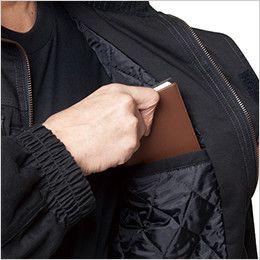 バートル 8110 チノクロス防寒ジャケット(大型フード付)綿100%(男女兼用) 内ポケット