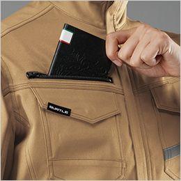 バートル 9071R [秋冬用]ストレッチツイル長袖ジャケット(男女兼用) レベルブック収納ポケット(深さ:21cm)