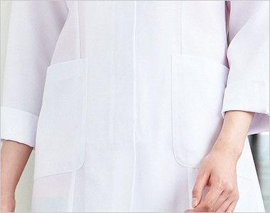 2520 FOLK(フォーク) 女性ハーフコート 長袖(女性用) ポケット(右腰ポケット内側ペン差し布付)