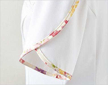 LW802 ローラアシュレイ 半袖ナースジャケット(女性用) 花びらのようなデザイン