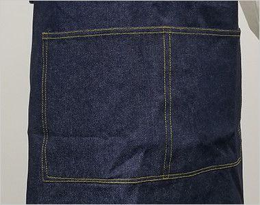 10022 桑和 デニムエプロン(たすき掛け/X型) 大きなポケットが2つ