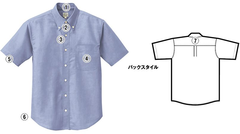 AZ7823 アイトス カナディアンクリーク 半袖T/Cオックスシャツ(男女兼用) 商品詳細・こだわりPOINT