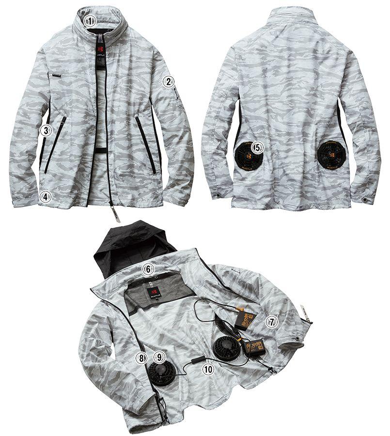AC1111PSET バートル エアークラフトセット[空調服]迷彩 長袖ジャケット(男女兼用) ポリ100%  商品詳細・こだわりPOINT