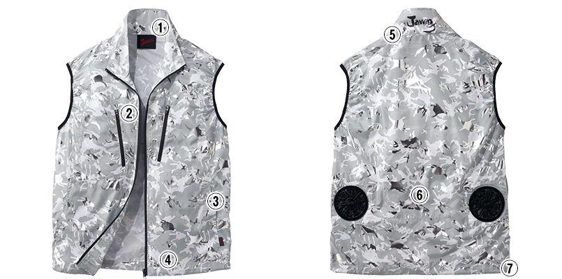 自重堂JAWIN 54060 [春夏用]空調服 迷彩 ベスト ポリ100% 商品詳細・こだわりPOINT