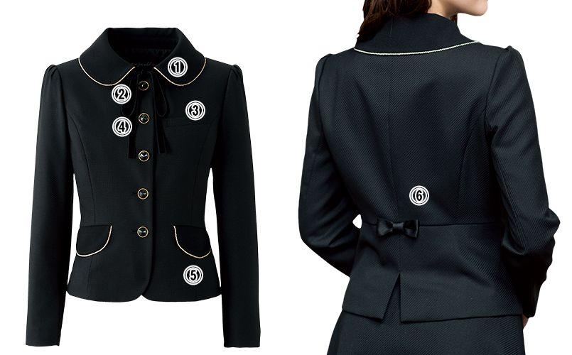 en joie(アンジョア) 81650 [秋冬用]上質感あふれるディテールで品格あるジャケット(リボン付き) 無地 商品詳細・こだわりPOINT