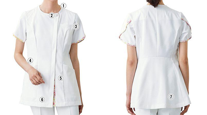 LW802 ローラアシュレイ 半袖ナースジャケット(女性用) 商品詳細・こだわりPOINT