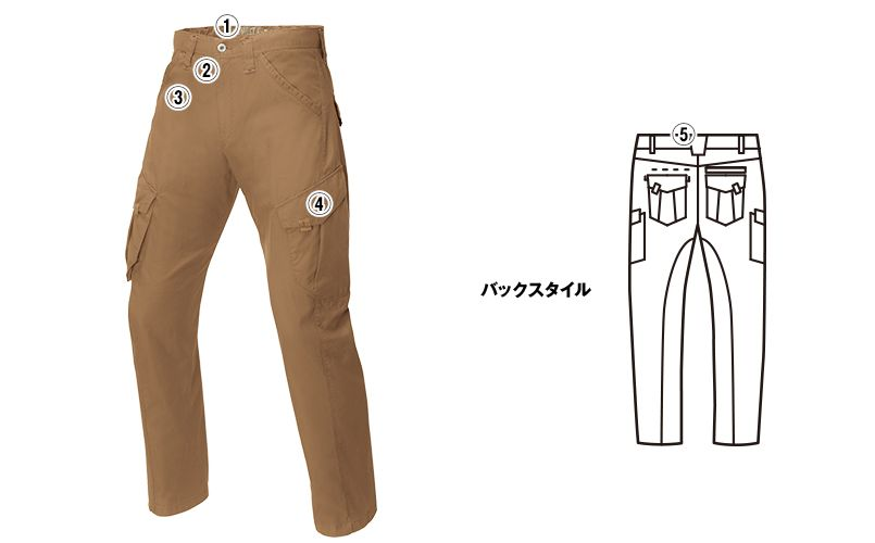 ジーベック 2156 [春夏用]現場服 バックツイルラットズボン(綿100%) 商品詳細・こだわりPOINT