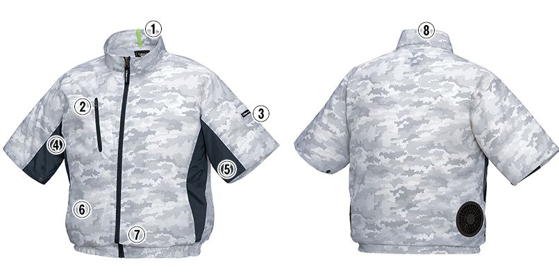ジーベック XE98006SET [春夏用]空調服セット 迷彩半袖ブルゾン ポリ100% 商品詳細・こだわりPOINT