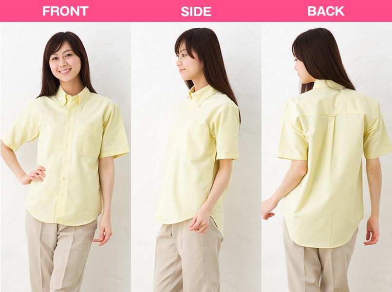 AZ7823 アイトス カナディアンクリーク 半袖T/Cオックスシャツ(男女兼用) モデル前後(レディース)