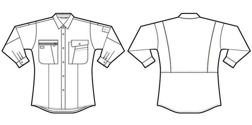 AZ5329 アイトス レディースムービンカット 長袖シャツ(薄地)(女性用) ハンガーイラスト・線画