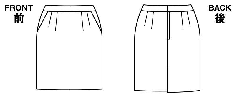 BONMAX AS2278 [通年]インプレス タイトスカート 無地 ハンガーイラスト・線画