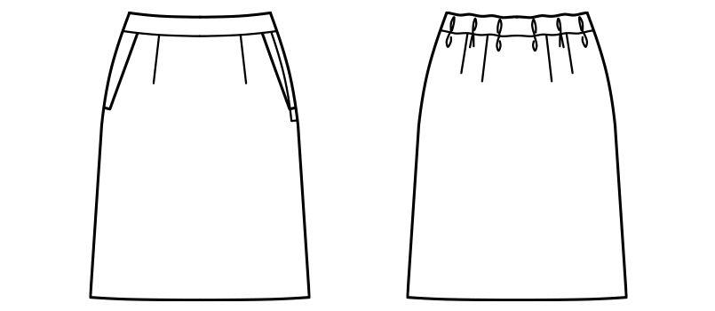 AS2308 BONMAX/トラッドパターン セミタイトスカート 無地 ハンガーイラスト・線画