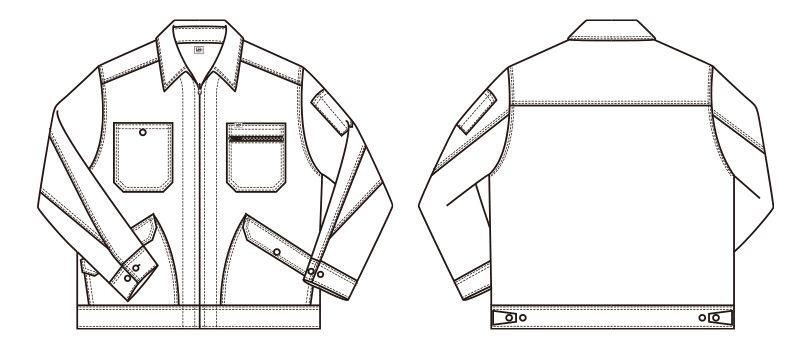LWB03002 Lee ジップアップジャケット(女性用) ハンガーイラスト・線画