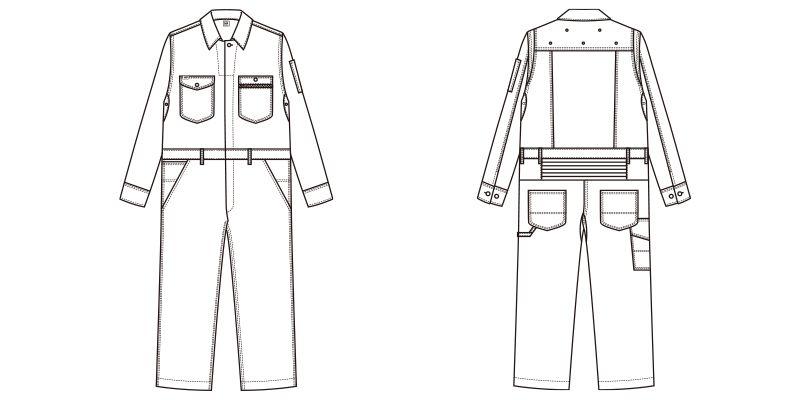 LWU39001 Lee ユニオンオール(長袖ツナギ)(男女兼用) ハンガーイラスト・線画