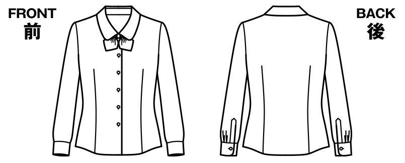BONMAX RB4152 [通年]リサール 優しげな風合いでワッフル生地の長袖ブラウス ハンガーイラスト・線画