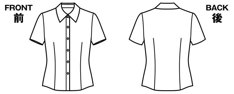 BONMAX RB4531 リサール 形態安定で上質な肌触りのシンプルな半袖ブラウス ハンガーイラスト・線画