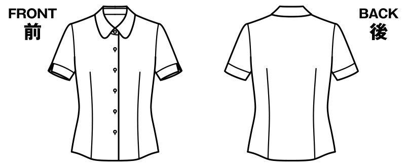 RB4542 BONMAX/リサール 汗冷えやベタつきを軽減する半袖ニットブラウス ハンガーイラスト・線画
