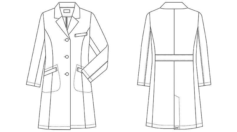 MZ-0175 ミズノ(mizuno) ドクターコート(女性用) ハンガーイラスト・線画