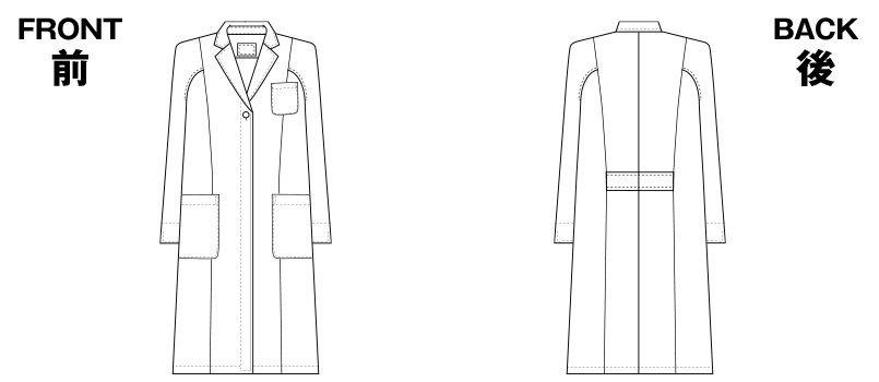 2520 FOLK(フォーク) 女性ハーフコート 長袖(女性用) ハンガーイラスト・線画