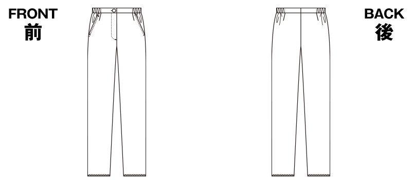 6006EW FOLK(フォーク) レディスストレートパンツ 脇ゴム 股下フリー(女性用) ハンガーイラスト・線画