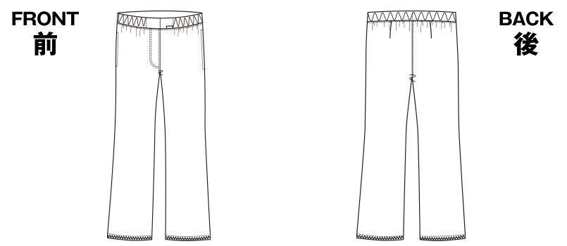 6007EW FOLK(フォーク) パントン レディースストレートパンツ 総ゴム(女性用) ハンガーイラスト・線画