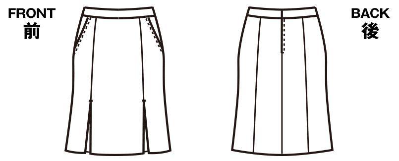 FS4569 nuovo(ヌーヴォ) マーメイドプリーツスカート 無地 ハンガーイラスト・線画