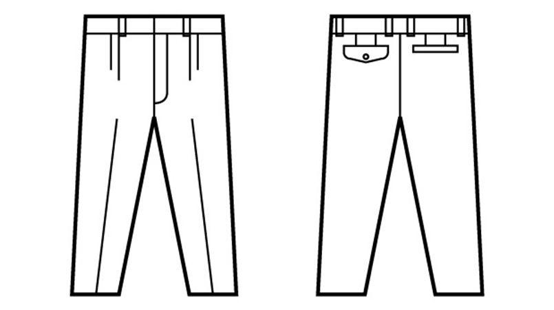 41601 自重堂 綿100%ツータックパンツ ハンガーイラスト・線画