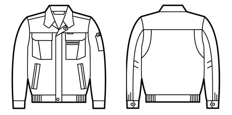 自重堂 42000 制電長袖ブルゾン ハンガーイラスト・線画