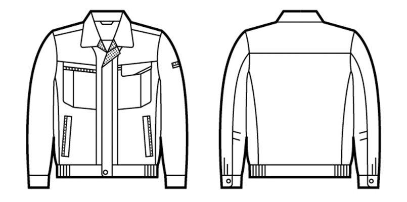 自重堂 47800 [春夏用]エコ 5バリュー 長袖ブルゾン(JIS T8118適合) ハンガーイラスト・線画