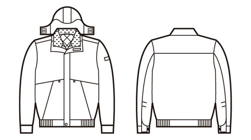 48340 自重堂 シンサレート防水防寒ブルゾン(フード付き・取り外し可能) ハンガーイラスト・線画